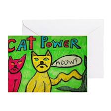 CAT POWER cartoon artwork design. Greeting Card