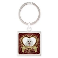 Poodle Bucket Square Keychain