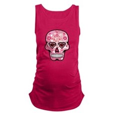 CANDY SKULL-Pink hearts-1 Maternity Tank Top