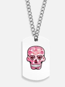 CANDY SKULL-Pink hearts-1 Dog Tags