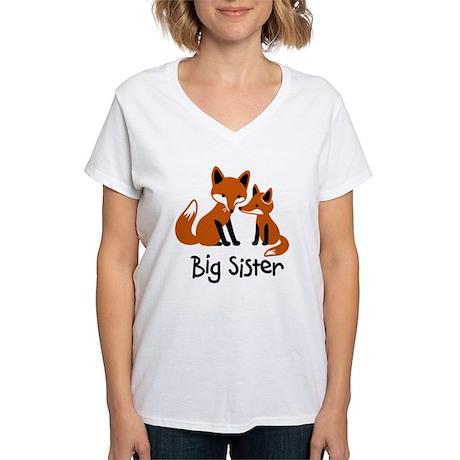 Big Sister - Mod Fox Women's V-Neck T-Shirt