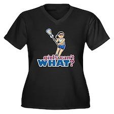 Girl Lacross Women's Plus Size Dark V-Neck T-Shirt