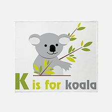 K Is For Koala Throw Blanket