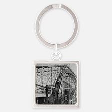 Coney Island Cyclone Roller Coaste Square Keychain