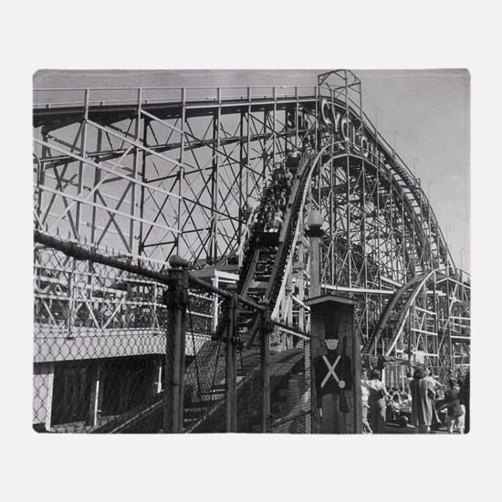 Coney Island Cyclone Roller Coaster  Throw Blanket