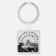 Coney Island Amusement Rides 18266 Square Keychain