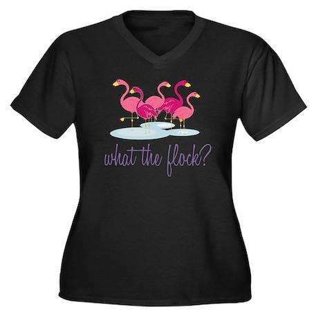 What The Flo Women's Plus Size Dark V-Neck T-Shirt