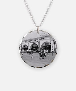 Steeplechase on Coney Island Necklace Circle Charm