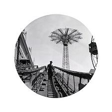 """Coney Island Roller Coaster 1826597 3.5"""" Button"""