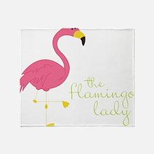 The Flamingo Lady Throw Blanket