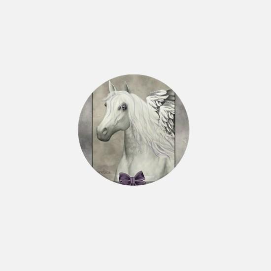 Horse Angel Portrait Heart Necklace Mini Button