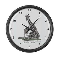 Giraffe Family Large Wall Clock