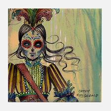 Victorian Drummer Girl messenger bag Tile Coaster