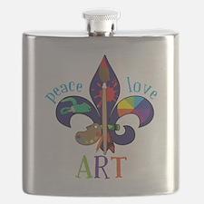 Peace Love Art Flask