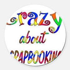 Crazy About Scrapbooking Round Car Magnet