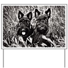 Sisters - Scottish Terriers in BW Yard Sign