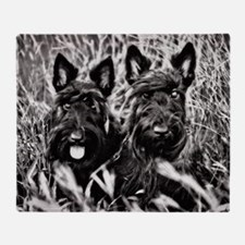 Sisters - Scottish Terriers in BW Throw Blanket