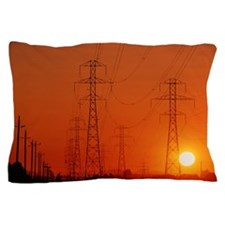 Electricity transmission lines at suns Pillow Case