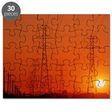 Electricity transmission lines at sunset Puzzle