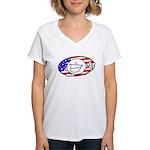 Patriotic Peace Happy Face Women's V-Neck T-Shirt