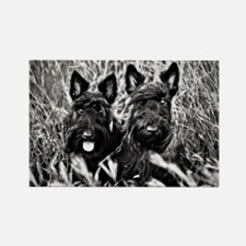 Sisters - Scottish Terriers in BW Rectangle Magnet