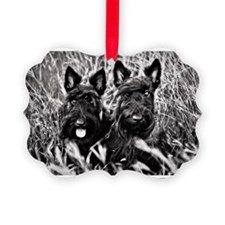 Sisters - Scottish Terriers in BW Ornament