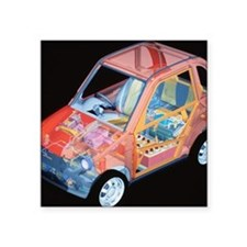"Electric car, artwork Square Sticker 3"" x 3"""