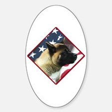 Akita Flag 2 Oval Decal