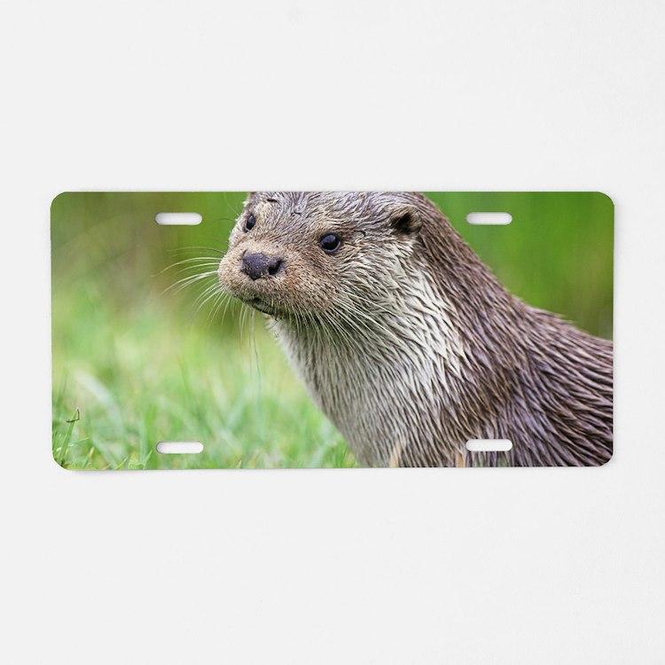 European otter Aluminum License Plate