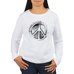 Urban Peace Sign Sketch Women's Long Sleeve T-Shir