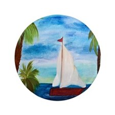 "Red Sailboat 3.5"" Button"