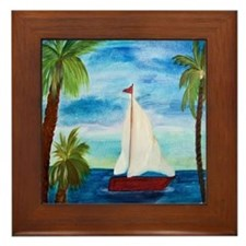 Red Sailboat Framed Tile