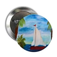 """Red Sailboat 2.25"""" Button"""