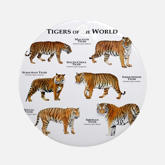 Tigers of the World Round Ornament