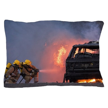 Firefighters hosing a burning car Pillow Case