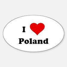 I Love Poland Oval Decal