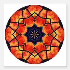 "Cheerful (circular) Square Car Magnet 3"" x 3"""