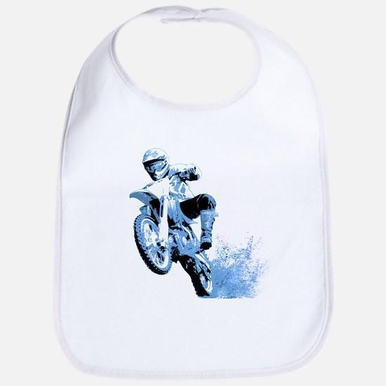 Blue Dirtbike Wheeling in Mud Bib