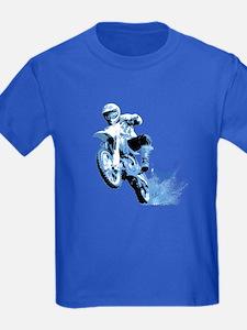 Blue Dirtbike Wheeling in Mud T
