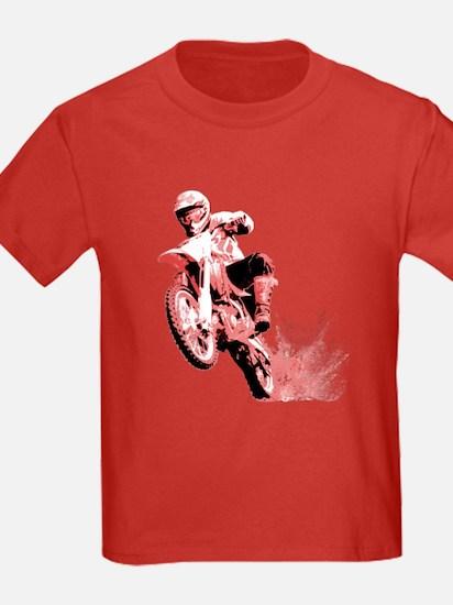 Red Dirtbike Wheeling in Mud T