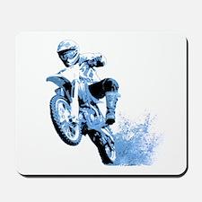 Blue Dirtbike Wheeling in Mud Mousepad