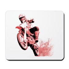 Red Dirtbike Wheeling in Mud Mousepad