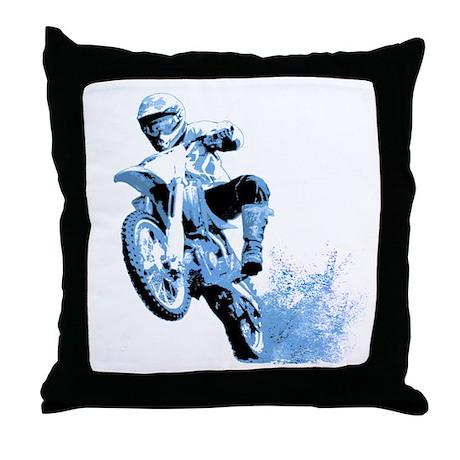 Blue Dirtbike Wheeling in Mud Throw Pillow
