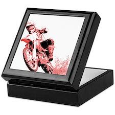 Red Dirtbike Wheeling in Mud Keepsake Box