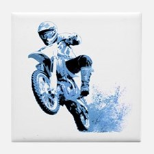 Blue Dirtbike Wheeling in Mud Tile Coaster