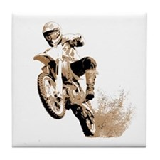 Dirt bike wheeling in mud Tile Coaster