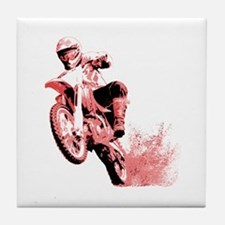 Red Dirtbike Wheeling in Mud Tile Coaster