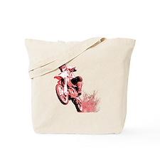 Red Dirtbike Wheeling in Mud Tote Bag