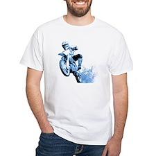 Blue Dirtbike Wheeling in Mud Shirt