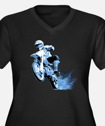 Blue Dirtbike Wheeling in Mud Women's Plus Size V-